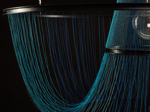 Studio Susanne de Graef  Rhythm of Light in Blue (Close-Up), 2016. Powder coated steel and polyester thread, 39 x 39 x 35/55 inches.