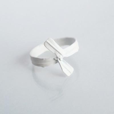 E for Effort – Twist Tie Ring – White