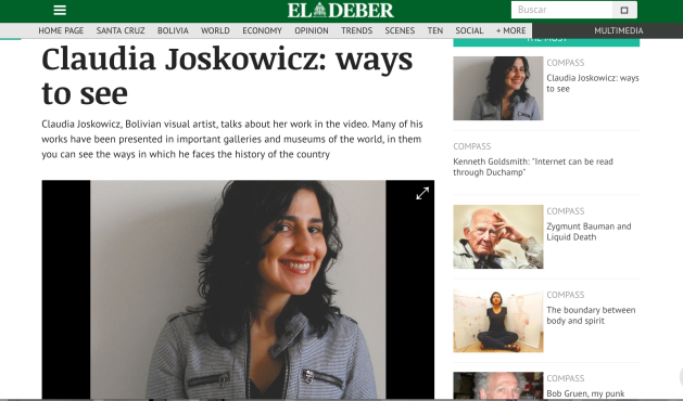 Claudia Joskowicz interview in El Deber Newspaper.