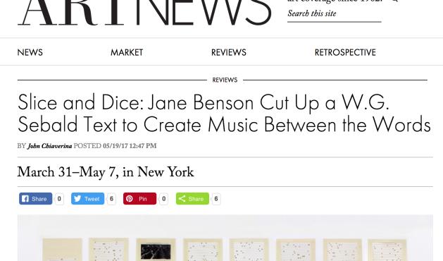 """ARTnews Review of Jane Benson's """"Song for Sebald"""" by John Chiaverina"""