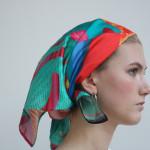 "Tali Hinkis (for LoVid) ""Bandanas"" 2017 wearable art, dye-sublimated print on silk charmeuse 19.5 mm, 37 x 37 inches"